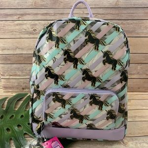 Luv Betsey clear purple striped unicorn backpack